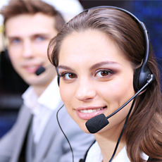 Picture of woman on telephone headset
